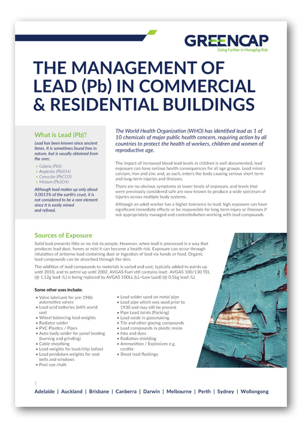 Free whitepaper download - The Management of Lead (Pb) in Commercial & Residential Buildings